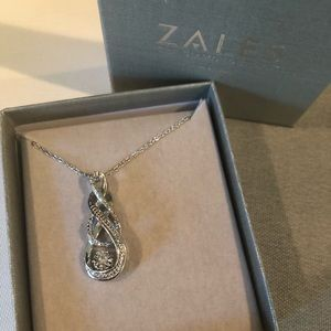 Zales 10k white gold and SS infinity necklace
